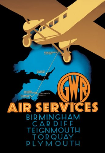 Gwr Air Services - Birmingham - Cardiff - Teignmouth - Torquay - Plymouth, By Ralph, 12X18 Paper Giclée