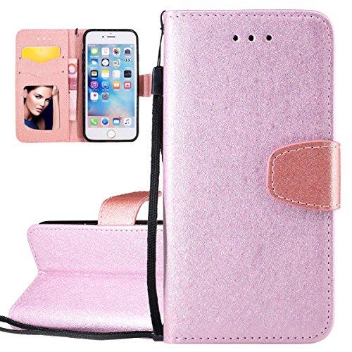 """Custodia iPhone 6, ISAKEN Custodia iPhone 6S con Strap, iPhone 6 Flip Cover Elegante Spazzolato Finitura Antiurto Custodia Protettiva Portafoglio Case Cover per Apple iPhone 6 (4.7"""") / con Supporto di Stand / Carte Slot / Chiusura Magnetica - Pink"""