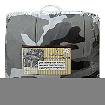 Clara Clark Colored Camouflage Goose Down Alternative Double Fill All Season Comforter, Full/Queen, Charcoal Gray