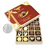 Chocholik Belgium Chocolates - 20pc Milk And White Chocolate Treat With 5gm Pure Silver Coin - Diwali Gifts