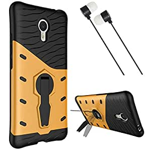 DMG Sniper Dual Layer Hybrid Back Cover Kickstand Case for Meizu M3 Note (Gold) + Black Stereo Earphone with Mic and Volume Control