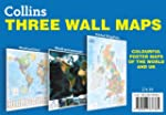 Collins Three Wall Maps: Colourful po...