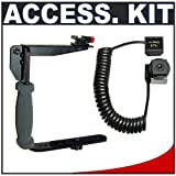 Stroboframe Quick Flip Rotating 350 Flash Bracket + Off-Camera Extension Cord for Sony Alpha DSLR SLT-A35, A37, A55, A57, A65, A77, A99 Digital SLR Cameras