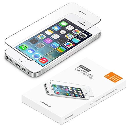 iPhone 5 5S SE screen protector, UPPERCASE Premium Tempered Glass Screen Protector for iPhone 5s, iPhone 5, iPhone 5c, iPhone SE (Protective Iphone 5s Glass compare prices)