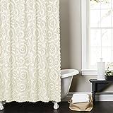 Lush Decor Stella Shower Curtain, 72 by 72-Inch, Ivory
