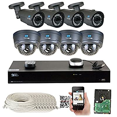 GW Security 1080P NVR Network IP Security Camera System with HD 1080P 2.8-12mm Varifocal Zoom Onvif PoE IP Camera