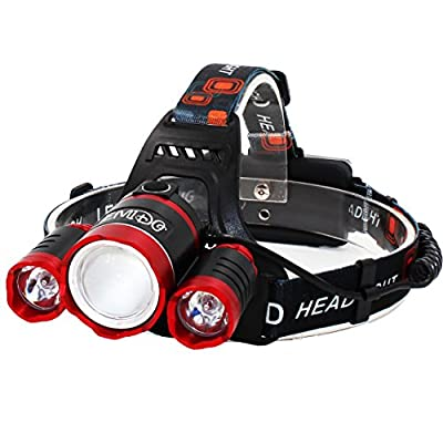 EMIDO Zoomable 4 Modes Super Bright Headlight Headlamp Flashlight Torch 3 CREE XM-L T6 LED with Rechargeable Batteries, Car Charger, AC Charger and USB Cable for Camping Riding Fishing Hunting