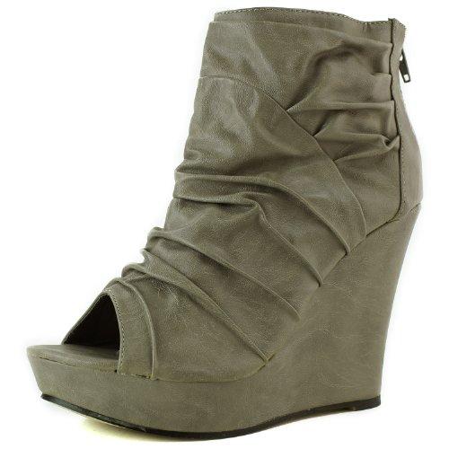 Women's Modesta Dana-01 Peep Toe Soft Crinkle Wedge Booties Fashion Shoes
