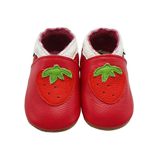 Sayoyo Baby Cute Strawberry Soft Soled Leather Baby Shoes Baby Moccasins(3-6 months ,Red)