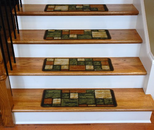 Washable Carpet Stair Treads - Hop Scotch Terra Cotta
