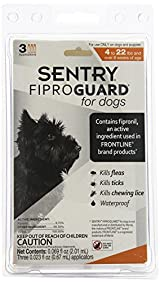 SENTRY Fiproguard For Dogs up tp 22 Pounds Kills Fleas, Ticks, Lice, 3 Doses