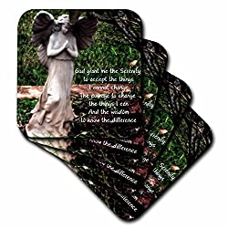 3dRose cst_63370_3 An Angel and The Serenity Prayer Together-Ceramic Tile Coasters, Set of 4