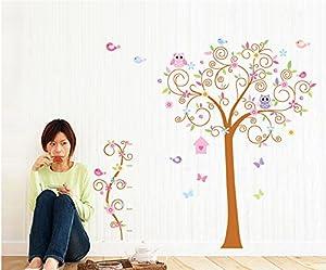 ufengke® Bellas Flores Árboles Búhos Pájaros Lindos Pegatinas de Pared, Vivero Habitación de Los Niños Removible Etiquetas de La Pared / Murales