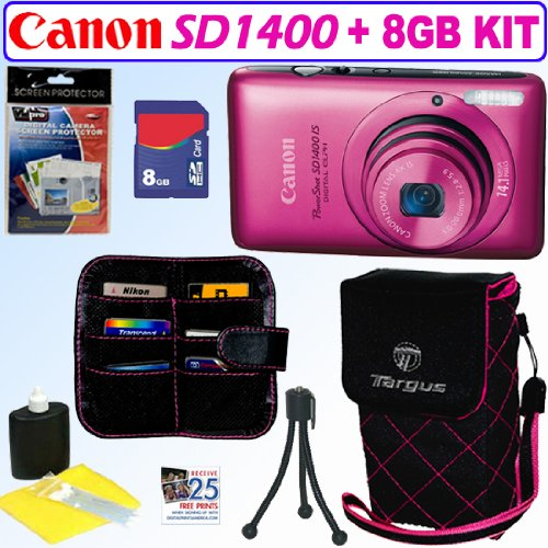 Canon PowerShot SD1400IS 14.1 MP Digital Camera (Pink) + 8GB Accessory Kit