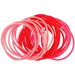 Set Of 24 Rubber Bracelets In Pink