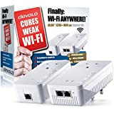 Devolo dLAN 1200+ Wi-Fi AC Powerline Starter Kit (Wi-Fi 802.11 AC Extender Kit, 1200 Mbps, 2 Plugs, 2 GB LAN Ports, Dual Band 2.4 GHz/5 GHz Adapter, Wi-Fi Extender, Booster, Repeater, Wi-Fi Move) - White