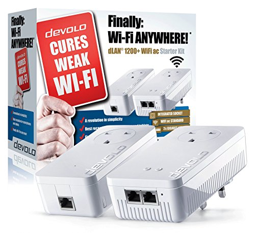 Devolo dLAN 1200+ Wi-Fi AC Powerline Starter Kit (Wi-Fi 802.11 AC Extender Kit, Pass Through, 2 GB LAN Ports, 1200 Mbps) NOT FOR USE IN THE UNITED STATES (Devolo Starter Kit compare prices)