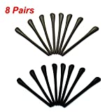 Pomeat 8 Pairs Silicone Eyeglass End Tips Ear Sock Pieces Tube Replacement for Thin Metal Eyeglass Legs, Black, Coffee