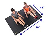 """Large Exercise Mat 78"""" X 48"""" X 6.5mm (6.5'x4') Longer, Wider, And More Durable Than Standard Yoga Mat. Perfect Workout Mat For At Home Workouts with SHOES Like P90X, Insanity, T25, MMA, and All Types of Fitness Training. Mat Does Not """"Bunch Up"""" While Working Out. Great For Apartments And Condos. FREE: 3 Velcro Mat Straps."""