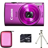 Canon IXUS 255 HS - Pink + Case + 8GB Card + Tripod (12.1MP, Wi-Fi, GPS, 10x Optical Zoom) 3.0 inch LCD
