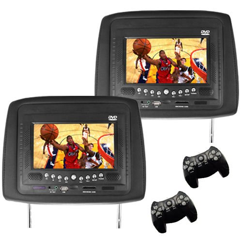 Car Headrest Dvd Player/Game System Black (Pair) - 7 Inch In Vehicle Monitor