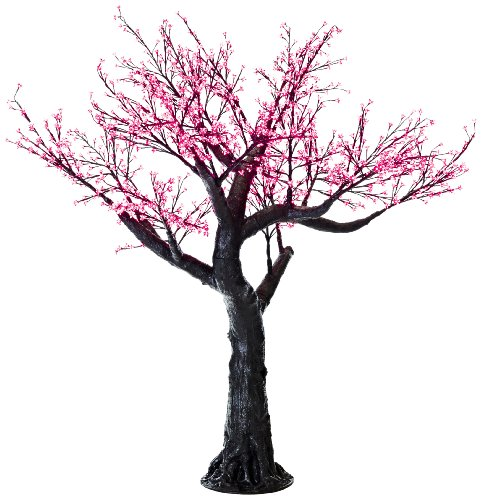 Arclite Nbl-230-7 Bonsai Cherry Blossom Tree, 0.9M Height, With Black Trunk, Red Crystals And Red Lights