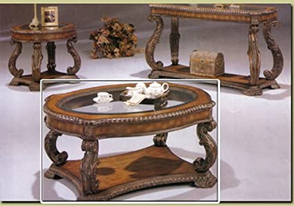 Hand Carved Glass Inlay Coffee Table Wood Accent Wooden