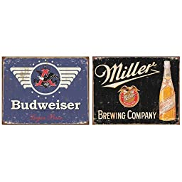Yours Dec Metal Tin Sign Nostalgic Beer Logo Tin Metal Sign Bundle - 2 retro signs: Budweiser Beer, Miller Brewing Company 0002