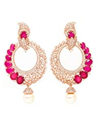 Beautiart Stylish Cz Rose Gold Earings Studded With Semi Precious Coloured Stone For Women