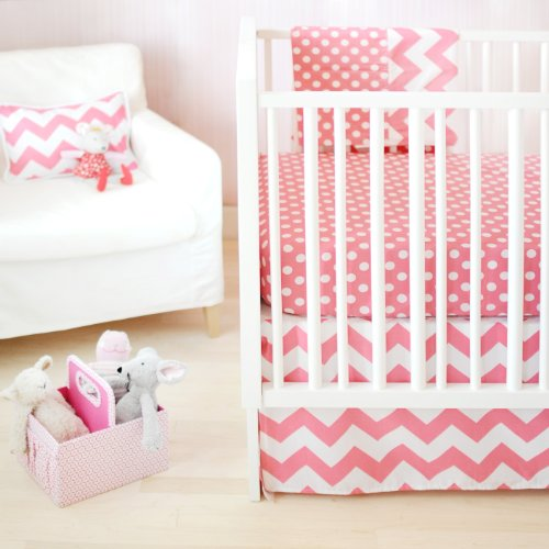 New Arrivals Zig Zag Baby 2 Piece Crib Bedding Set, Hot Pink