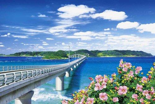 1000ピース めざせ!パズルの達人 角島大橋と青い海-山口 (50x75cm)