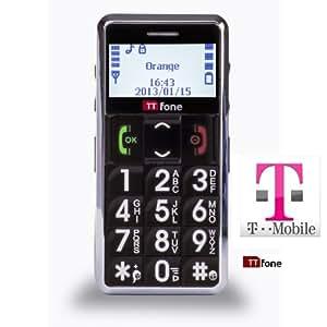 TTfone Neptune Senior Basic Mobile Phone Big Buttons SOS Button (Black - T-Mobile pay as you go)