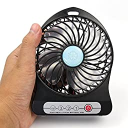 Soonhua Electric Mini Portable USB Mini Fan Rechargeable Battery Operated for Outdoor Activities (Black2)