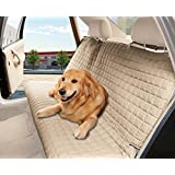 Elegant Comfort® Quilted Design %100 Waterproof Premium Quality Bench Car Seat Protector Cover (Entire Rear Seat) for Pets - TIES TO STOP SLIPPING OFF THE BENCH , Beige