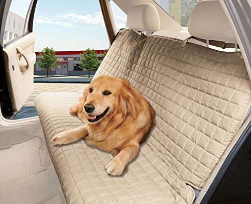 Elegance Linen® Quilted Design %100 Waterproof Premium Quality Bench Car Seat Protector Cover (Entire Rear Seat) for Pets - TIES TO STOP SLIPPING OFF THE BENCH , Beige (Quilted Waterproof Seat Protector compare prices)