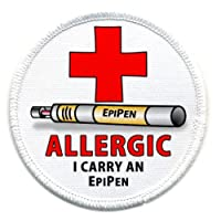 ALLERGIC I Carry an EPIPEN Medical Alert 2.5 inch Sew-on Patch by Creative Clam