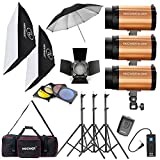 Neewer® 900W(300W x 3)Professional Photography Studio Monolight Strobe Flash Light Lighting Kit for Portrait Photography,Studio and movie Shooting( 300SDI)