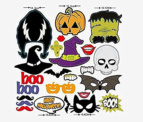 [24pcs Weird Props Photo Booth Props Panel Hen Party Fun Accessories Christmas Birthday Anniversary Party Decor Mustache Pumpkin Batman Skull Witch] (Cute Halloween Printouts)