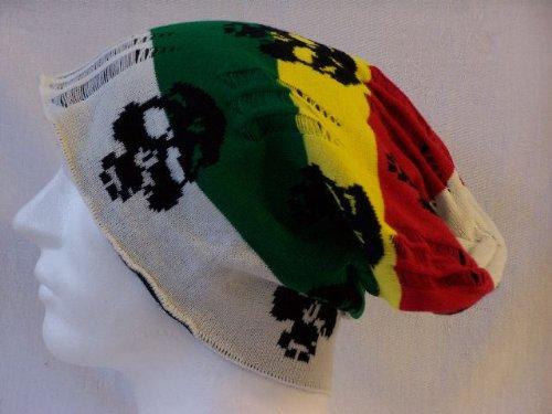Emeco Strickmütze Mütze LONG BEANIE Slouch RASTA KH130-149 viele Farben, RASTA SKULL/15-01