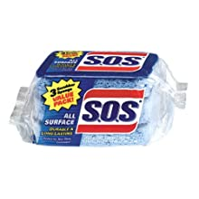 S.O.S. All Surface Scrubber Sponge, 3-Count Packs (Pack of 8)
