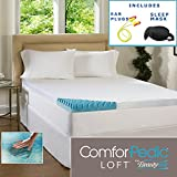 Beautyrest 4-inch Sculpted Gel Memory Foam Mattress Topper with Polysilk Cover - Queen - High Quality Sleep Mask & Comfortable Pair of Corded Earplugs Included