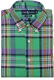 Polo Ralph Lauren Custom-Fit Poplin Madras Button Down (Extra Large, Green/Blue)