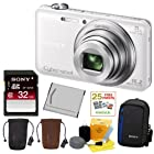 SONY Cyber-shot DSC-WX80/W Compact Zoom Digital Camera in White + 32GB Secure Digital Memory Card + Sony Digital Camera Case + Sony Drawstring Style Case + 25 Free Quality Photo Prints + Lithium Ion Rechargeable Battery + Enhanced Lens Cleaning Kit
