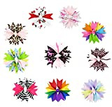 "HipGirl Girls 10pc Small 3""-3.5"" Spike Pinwheel Hair Bow Clips, Barrattes"