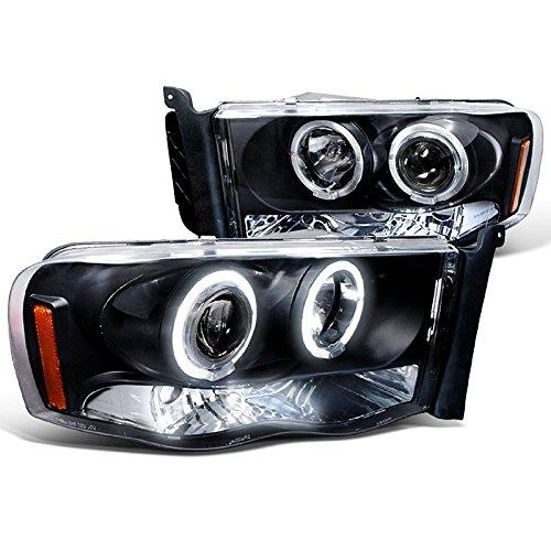Spec-D Tuning 2LHP-RAM02JM-TM Dodge Ram Black Led Halo Projector Head Lights (2003 Dodge Headlights compare prices)