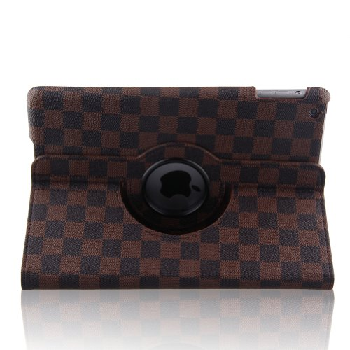 Auto Sleep/Wake Function 360 Degree Rotating Smart Case Cover For 9.7 Inch Ipad Air Ipad 5 With A Stylus As A Gift--Grid Pattern,Brown