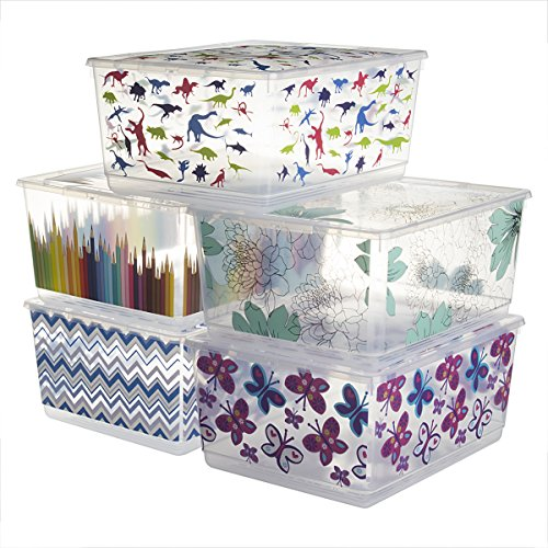 6 Pack KIS UrBin Large Plastic Storage Bins With Lids Home Organization Containers Stacking Clothing School Crafts  sc 1 st  Anna Linens & 6 Pack KIS UrBin Large Plastic Storage Bins With Lids Home ...