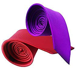 WSD men's narrow royal blue and red micro fiber tie pack of two (RED AND PURPLE)