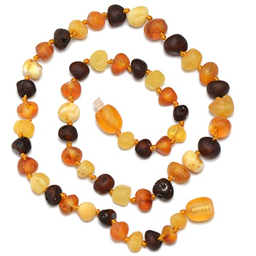 Hand Made Baltic Amber Teething Necklace for Babies - Safety Knotted - Raw - Not Polished - Genuine Amber - Limited Time Price Offer !!! - 1