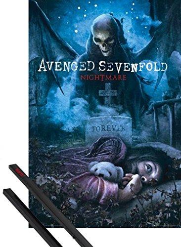Poster + Sospensione : Avenged Sevenfold Poster Stampa (91x61 cm) Nightmare e Coppia di barre porta poster nere 1art1®